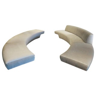 Pair of Long Curved Sofas From the John Lautner Elrod House, Rare Opportunity For Sale