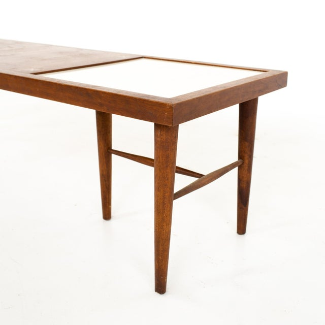Brown Merton Gershun for American of Martinsville Mid Century X Inlaid Walnut and White Laminate Coffee Table For Sale - Image 8 of 12