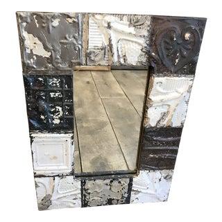 Antique Tin Frame Mirror For Sale