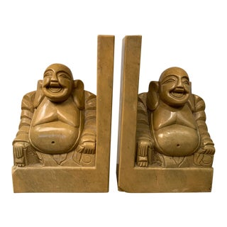 Mid 20th Century Carved Soapstone Smiling Buddha Bookends - a Pair For Sale