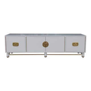 White Mid Century Oriental Low Credenza For Sale