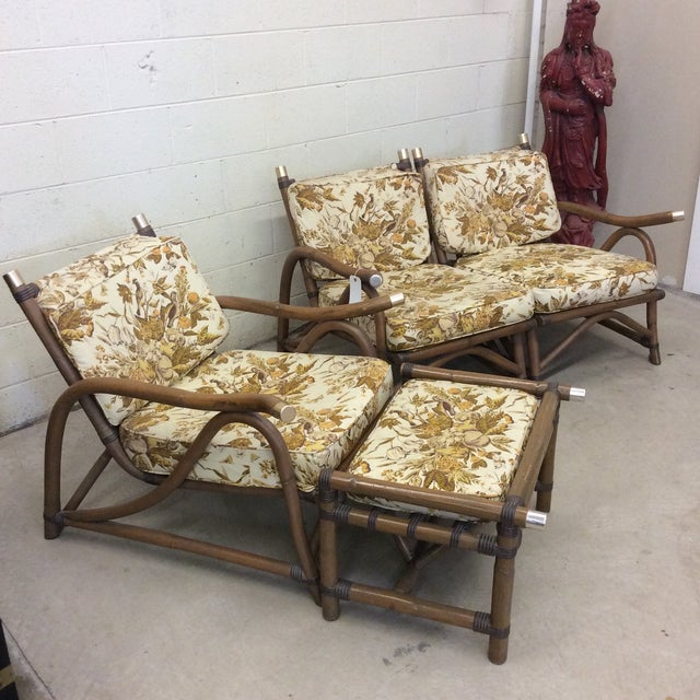 Boho Chic McGuire Style Bamboo Patio Set For Sale - Image 3 of 13