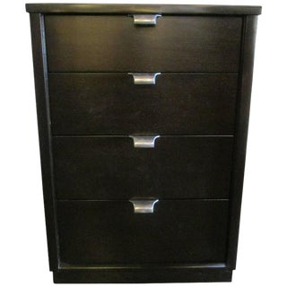 1960s Black Stained Walnut Four-Drawer Nightstand by Drexel For Sale
