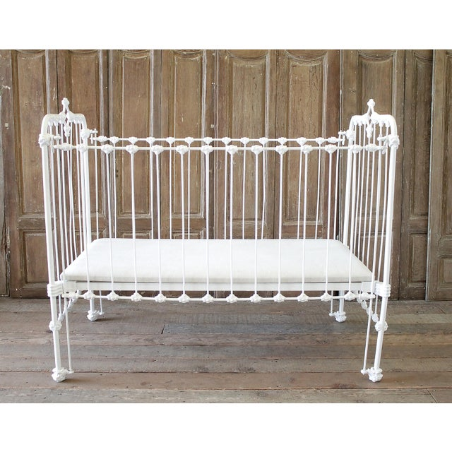 19th Century Shabby Chic Painted White Iron Crib Baby Bed For Sale - Image 13 of 13