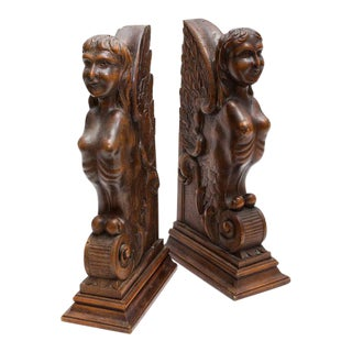 Sphinx Walnut Carved Bookends - A Pair