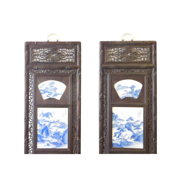 Blue/White Porcelain Wood Framed Wall Art - Set/4 - Image 4 of 9
