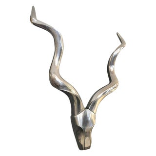 Stylized Chrome Kudu Wall Sculpture For Sale