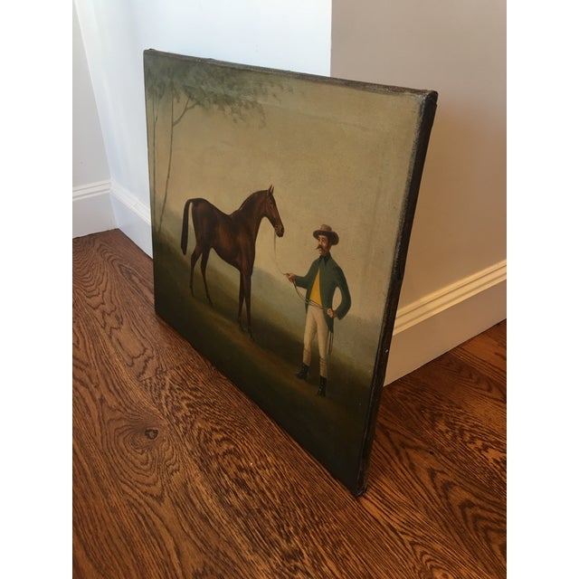 Rustic Late 19th Century Antique Equestrian - Horse and Groom Painting For Sale - Image 3 of 5