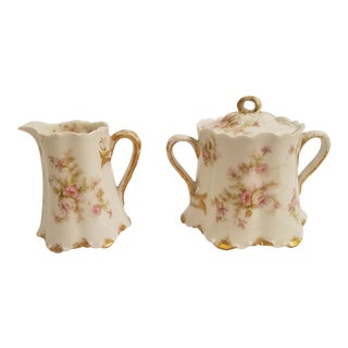 Antique Haviland Limoges Pink Rambling or Wild Roses Gold Trim Cream and Sugar - a Pair For Sale