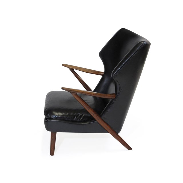 Wood Kurt Olsen Danish Rosewood Black Leather Bear Chair For Sale - Image 7 of 11
