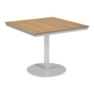 """38"""" Square Outdoor Bistro Table, Natural For Sale"""