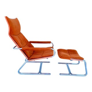 Vintage Chrome Cantilever Lounge Chair & Ottoman - a Pair For Sale