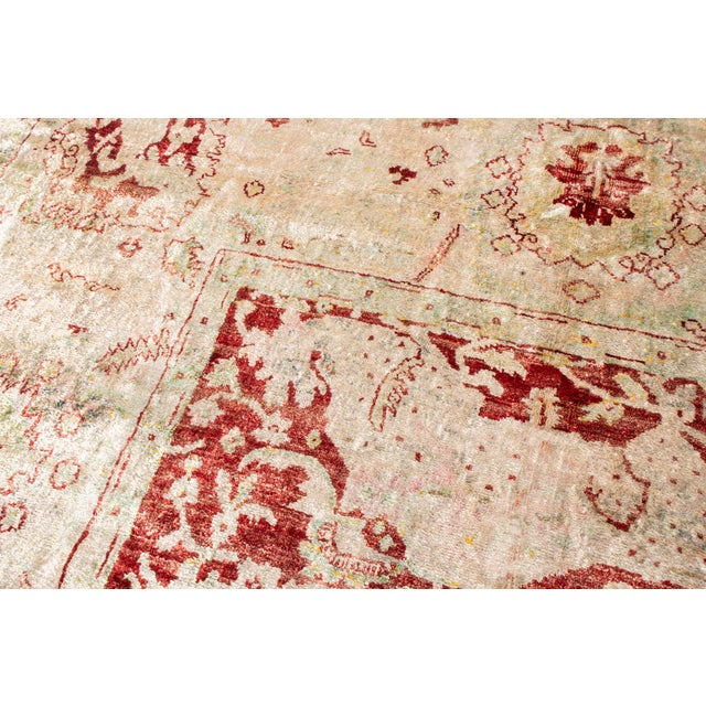 Rug & Kilim Traditional Hand Knotted Red and Beige Oushak For Sale - Image 4 of 8