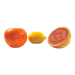 Grapefruit, Orange & Lemon Ceramic Fruit - Set of 3 For Sale