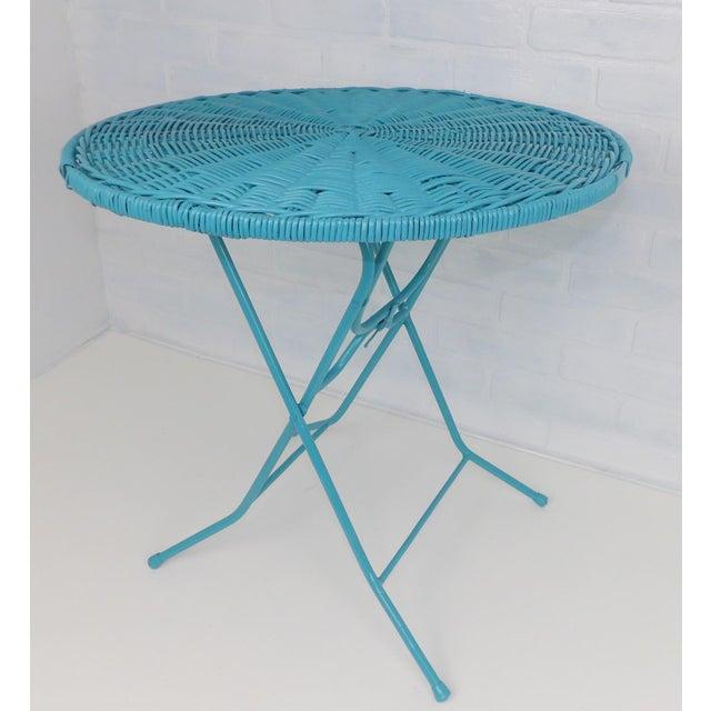 Vintage Teal Folding Wicker Tilt Top Table - Image 9 of 9