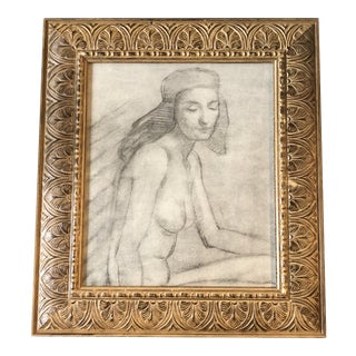 Vintage Art Deco Female Nude Charcoal Study Drawing Ornate Wood Frame For Sale