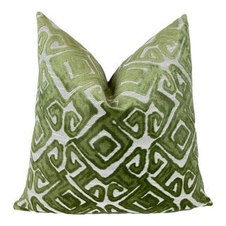 """Chartreuse Green and Natural Cut Velvet Throw Pillow 