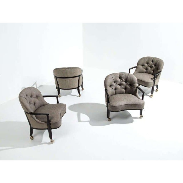 Edward Wormley for Dunbar Janus Armchairs, Set of Four, 1950s For Sale In Detroit - Image 6 of 7