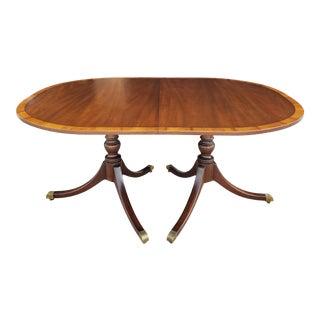 Vintage 1940s Kittinger Banded Mahogany Dining Table For Sale