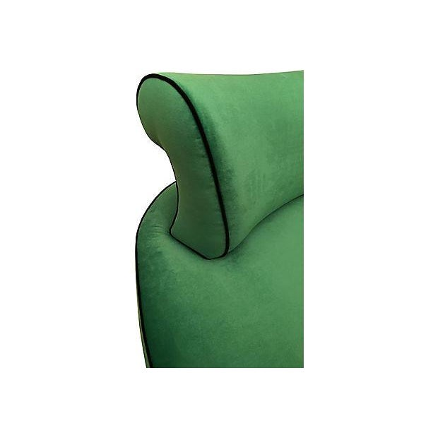 Green Vintage Vladimir Kagan-Style Hollywood Regency Kelly Green Curved Settee For Sale - Image 8 of 8