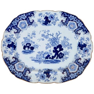 Chinoiserie Ironstone Platter, Ridgway & Morley, England, Circa 1845 For Sale