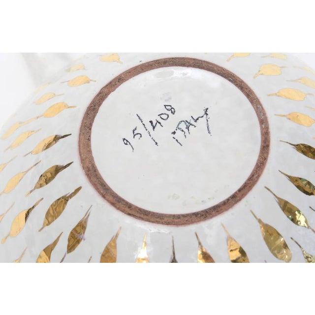 Aldo Londi Aldo Londi for Bitossi Gold Painted White Ceramic Bowl Vintage For Sale - Image 4 of 11