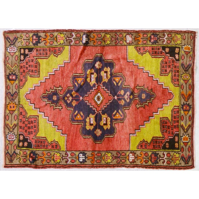 """Vintage Turkish Rug,3'1""""x4'2"""" For Sale In New York - Image 6 of 6"""