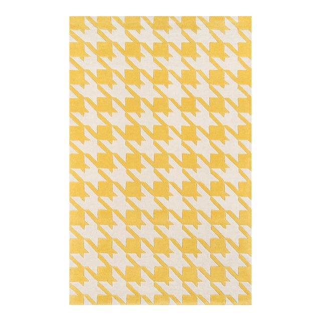Contemporary Momeni Delhi Hand Tufted Yellow Wool Area Rug 5' X 8' For Sale