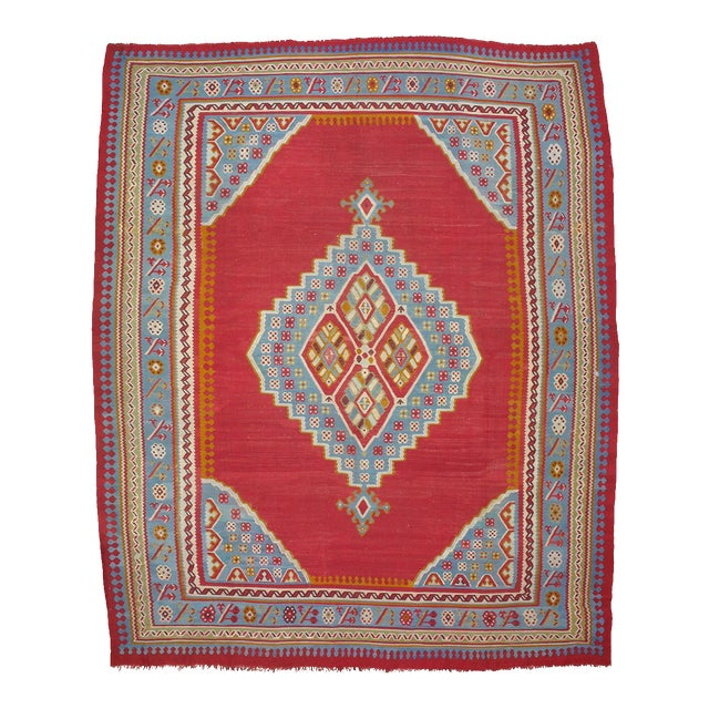 Antique Oushak Kilim - 12′4″ × 14′10″ For Sale