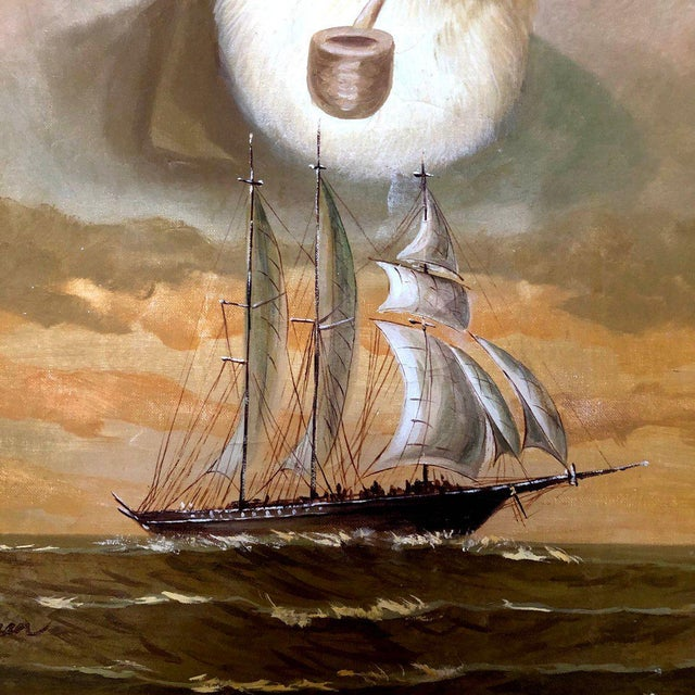 1960s Vintage Captain and Ship Nautical Framed Original Painting For Sale - Image 4 of 9