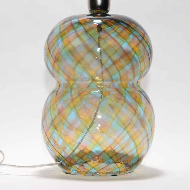 """Italian Unique Cenedese """"Reticello"""" Blown Glass Table Lamp For Sale - Image 3 of 4"""