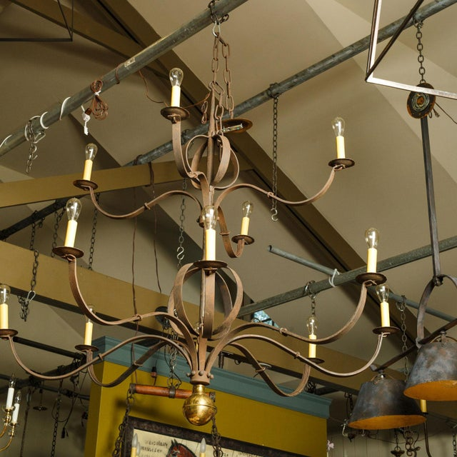 Brass Monumental Two-Tier Forged Iron Chandelier For Sale - Image 7 of 10