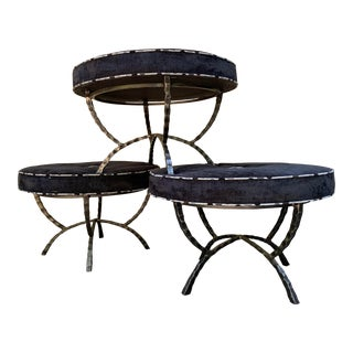 Custom Charleston Forge Over-Sized Round Ottoman- Set of 3 For Sale