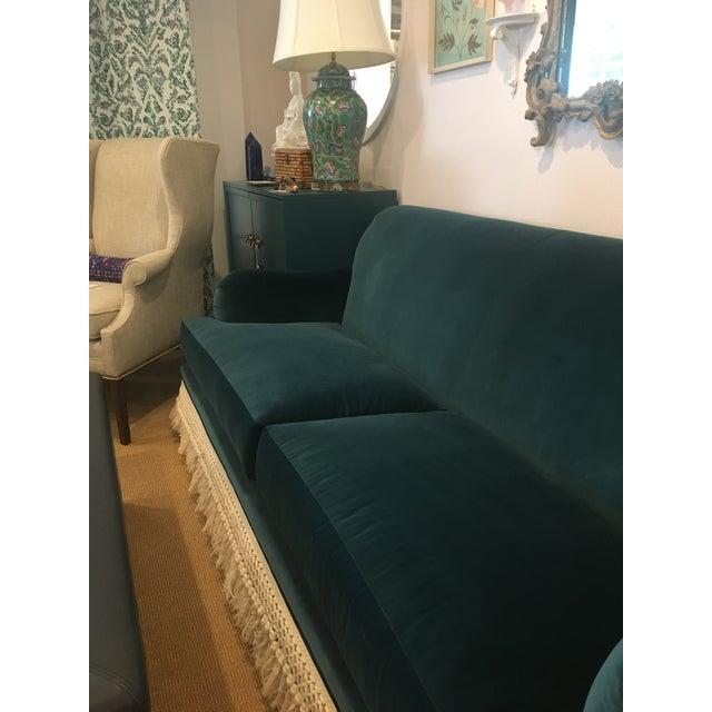 2020s Teal Velvet And Fringe Sofa For Sale - Image 5 of 6