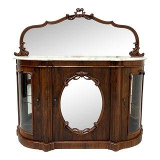Antique Circa 1850 Victorian Rococo Revival Rosewood Marble Top Sideboard / Credenza For Sale