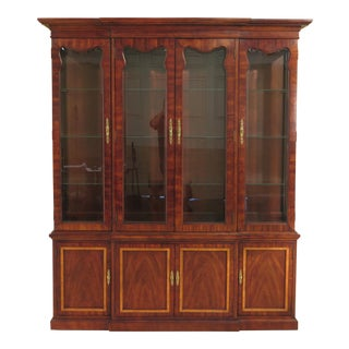 Thomasville Beveled Glass Mahogany 4-Door Breakfront Cabinet For Sale