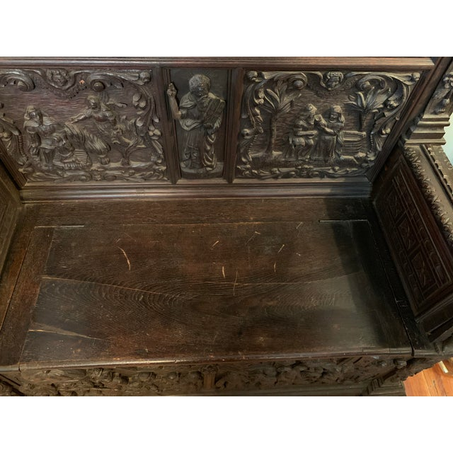 16th Century Antique High Gothic Pictorial Bench For Sale - Image 4 of 12
