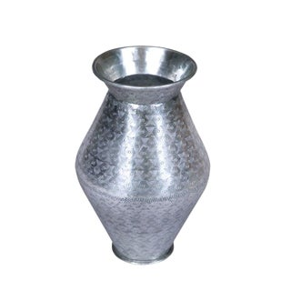 Metallic Aluminum Vase With Etched Pattern For Sale