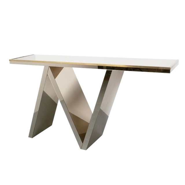 Artisan Zigzag Mirror Brass Console Table Italy, Circa 1970 For Sale