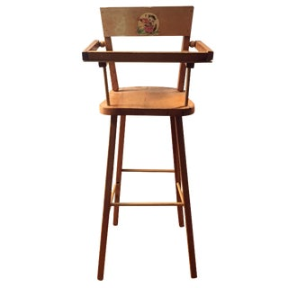 Wood Doll High Chair with Cat Motif
