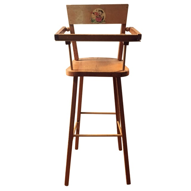 Wood Doll High Chair with Cat Motif For Sale