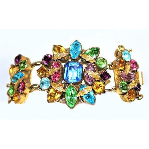 Metal Czech Multicolor Faceted Stone Bracelet For Sale - Image 7 of 7