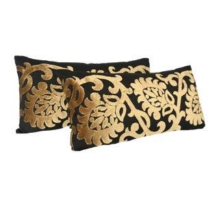 Mediterranean Black and Gold Lumbar Pillows - a Pair For Sale