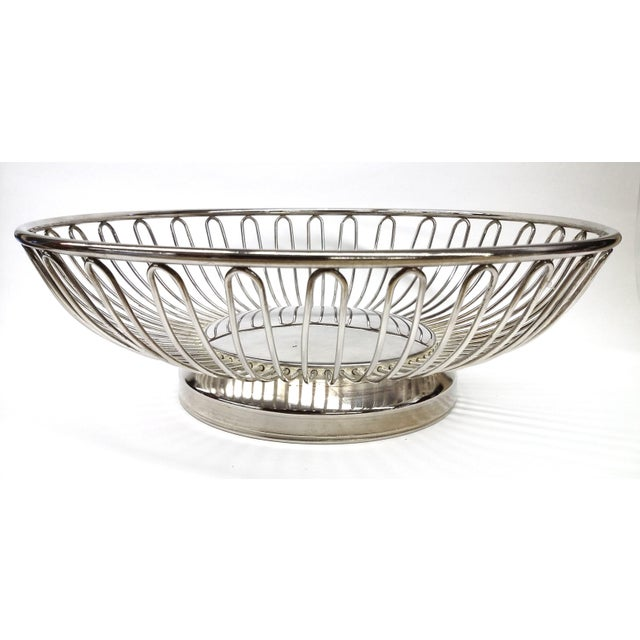 Mid-Century Silver Plate Openwork Modern Fruitbowl - Image 2 of 8