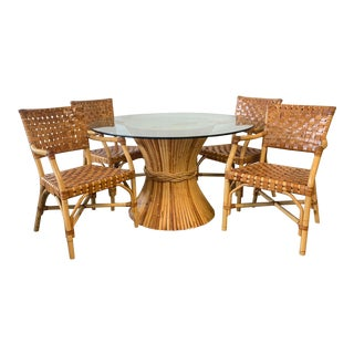 McGuire Rattan and Leather Dining Set, 4 Chairs and Sheaf of Wheat Table For Sale