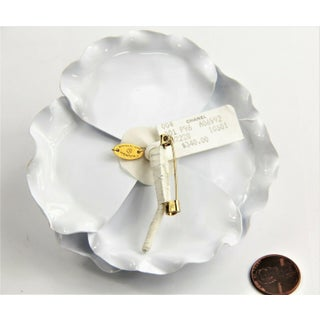 Rare Vintage Chanel White Plastic Camellia Flower Brooch Nwt Preview