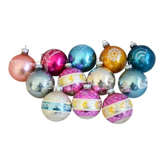 Vintage Glitter Christmas Ornaments W/Box - Set of 12 For Sale