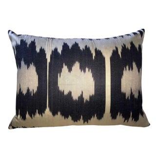 Vintage Triple Ikat Silk Atlas Down Feather Pillow For Sale