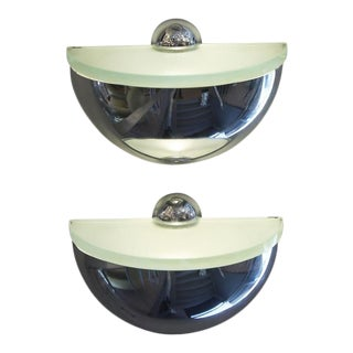 Rounded Chrome Sconces by Fontana Arte - a Pair For Sale
