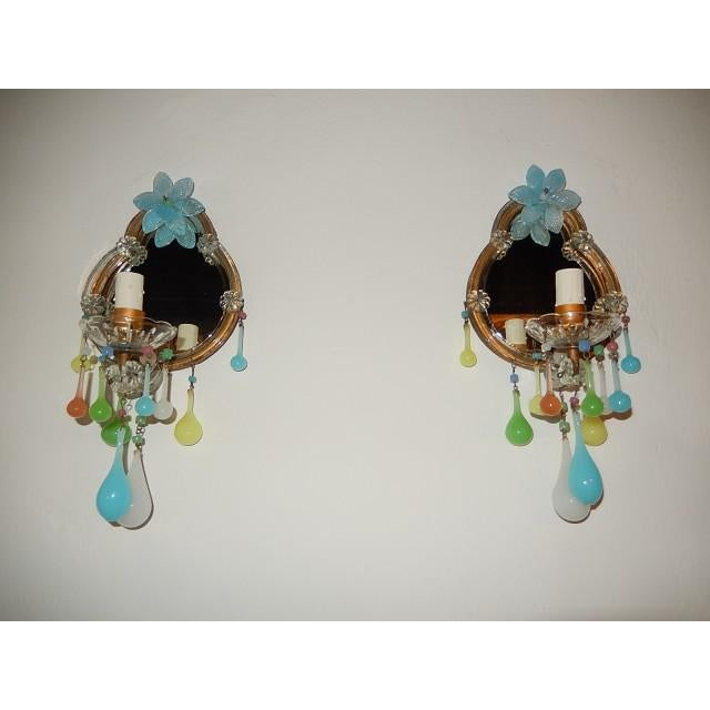 French Multicolored Opaline Murano Glass Mirrored Sconces For Sale - Image 13 of 13